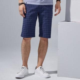 【PLAYBOY】經典格紋休閒短褲(深藍色)