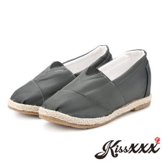 【KissXXX】特殊防潑水純色美腿效果5CM內增高帆布休閒鞋(深灰)