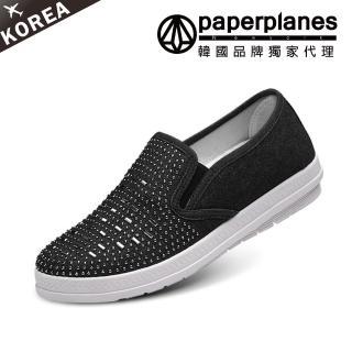 【Paperplanes】韓國空運/正常版型。點點燙銀裝飾牛仔棉厚底懶人休閒鞋(7-199共3色/現貨)