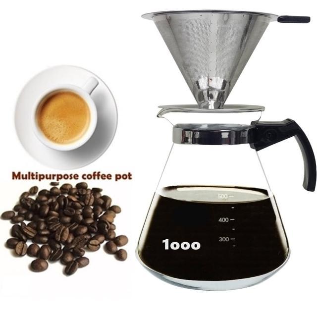 【咖啡沖泡組7】大號316不銹鋼濾杯x1+進口1000ml咖啡壺x1-塑把/泡咖啡/泡茶濾杯/手沖咖啡濾(2入組)