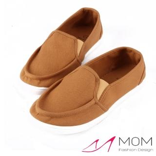 【MOM】韓版休閒舒適帆布鞋 懶人樂福鞋 親子鞋(淺咖)