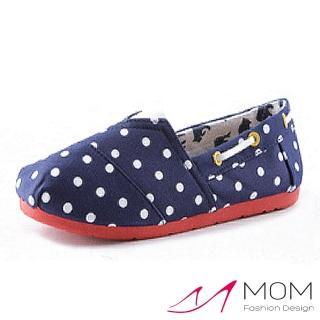 【MOM】美式潮流休閒舒適帆布鞋 懶人樂福鞋 親子童鞋(藍色波點)