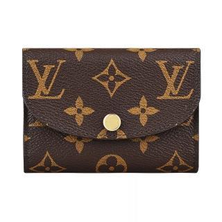 【Louis Vuitton 路易威登】LV M62361 ROSALIE經典花紋LOGO Monogram帆布2卡扣式零錢包(芭蕾粉)