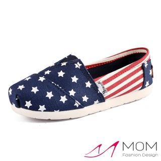 【MOM】美式潮流休閒舒適帆布鞋 懶人樂福鞋 親子童鞋(藍星紅條紋)
