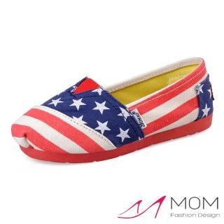 【MOM】美式潮流休閒舒適帆布鞋 懶人樂福鞋 親子童鞋(星條旗)