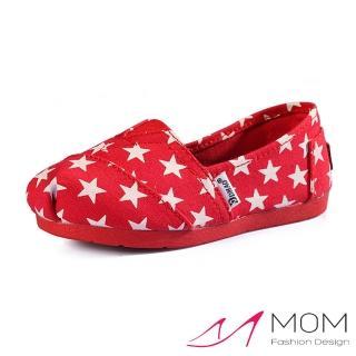 【MOM】美式潮流休閒舒適帆布鞋 懶人樂福鞋 親子童鞋(紅色星星)