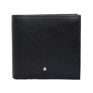 【MONTBLANC 萬寶龍】夜航系列亮面牛皮RFID防盜 8卡短夾 黑色(118276 Black)