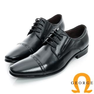 【GEORGE 喬治皮鞋】側V切口橫紋裝飾真皮紳士鞋-黑色