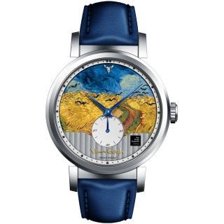 【梵谷Van Gogh Swiss Watch】小秒盤梵谷經典名畫男錶(C-SLMW-27 烏鴉麥田)