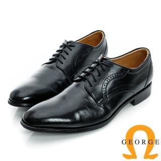 【GEORGE 喬治皮鞋】經典素面綁帶後雕花真皮紳士皮鞋-黑色