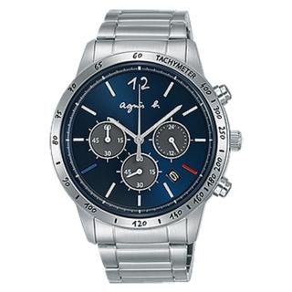 【agnes b.】限定款魅力三眼計時手錶-藍銀43mm(VK63-KVC0B/BU2001X1)