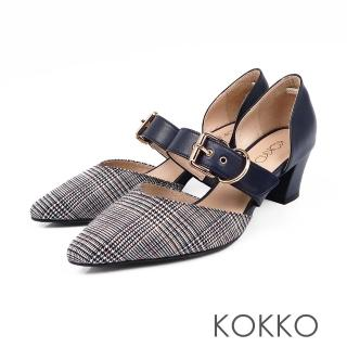 【KOKKO集團】艾菲爾鐵塔手工飾帶撞色粗跟鞋(格紋藍)