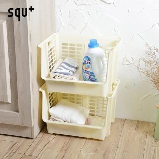 【日本squ+】可疊式前取置物籃-附輪-2入