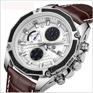 【美國熊】國民男錶 極致工藝 賽車運動款 三眼計時 日期窗 真皮表帶石英機芯腕錶(MG-2015)