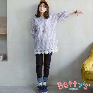 【betty's 貝蒂思】基本款褲管抽鬚牛仔褲(深藍)