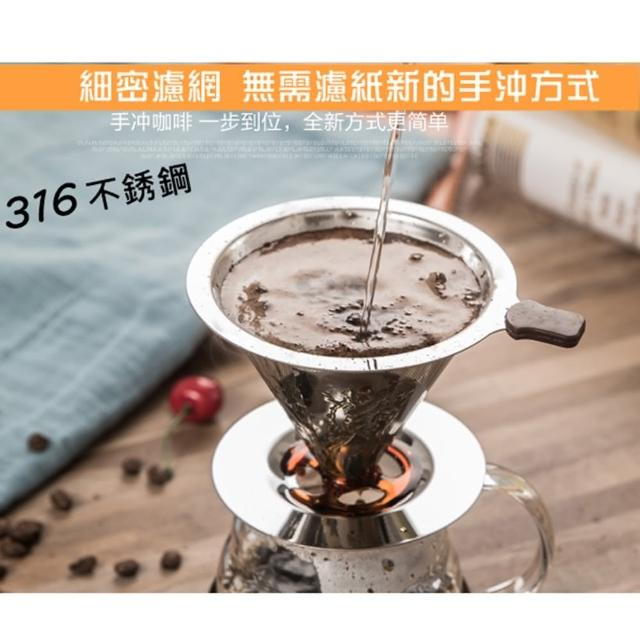 【Features咖啡濾杯】316不銹鋼雙層濾杯x1/泡咖啡 泡茶濾杯 手沖咖啡濾器(1~4人份)