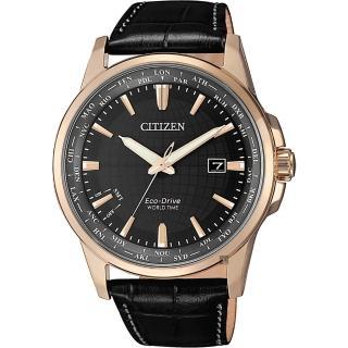 【CITIZEN 星辰】限量光動能萬年曆手錶-玫瑰金框x黑/41mm(BX1008-12E)