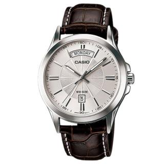 【CASIO 卡西歐】時尚貴族系皮帶腕錶-銀面(MTP-1381L-7A)