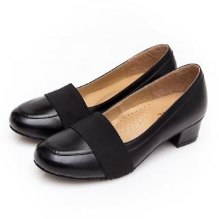 【G.Ms.】小資X麻吉系列-MIT手工-牛皮鬆緊帶粗低跟鞋(黑色)