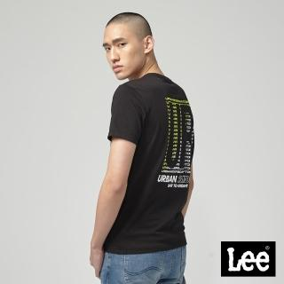 【Lee】UR 背後膠印 男短袖T恤-黑(黑)