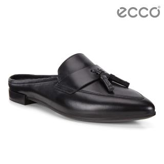 【ecco】SHAPE POINTY BALLERINA 復古流蘇正裝穆勒平底鞋 女(黑 26948301001)