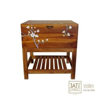 【吉迪市柚木家具】實木手繪花漾造型海盜箱