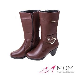 【MOM】真皮金屬C釦帶飾牛皮長靴 機車靴 馬丁靴(棕)