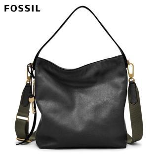 【FOSSIL】Maya 黑色 HOBO包 附斜背帶ZB6979001