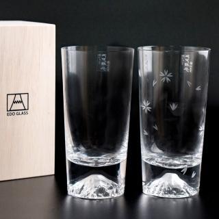 【田島硝子】日本手工吹製富士山杯 經典櫻花高杯對杯(TG15-015-T+TG16-015-TS)