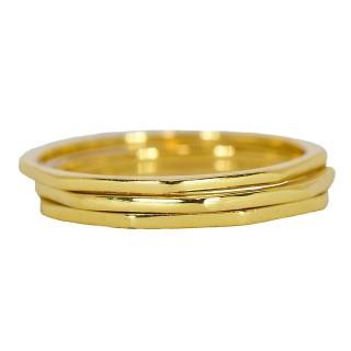 【Pura Vida】美國手工 八角幾何造型金色戒指 3件組(Delicate Stacked Ring 金色)