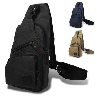 【iDeatry】美式簡約背包 帆布包 單肩 男生側背包 斜背包 斜胸包 後背包 潮流男包 運動背包 包包(背包)