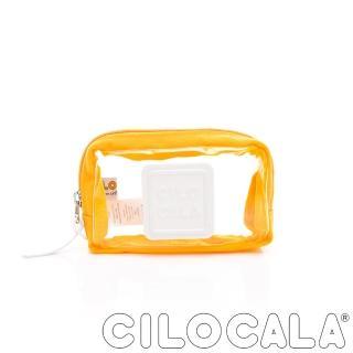 【CILOCALA】限量版-亮彩尼龍防潑水透明化妝包(黃色)