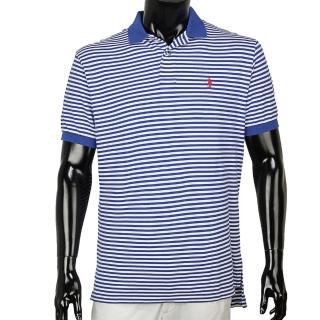 【RALPH LAUREN】經典刺繡LOGO條紋綿質POLO衫(深藍/白)