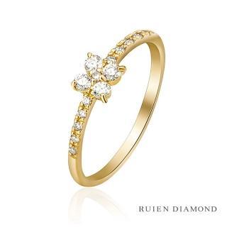 【RUIEN DIAMOND 瑞恩鑽石】輕珠寶系列 四葉草(18K黃金 鑽石戒指)
