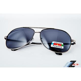 【Z-POLS】名牌風格經典帥氣邊框設計寶麗來偏光抗UV400太陽眼鏡(名牌風格設計偏光太陽眼鏡)