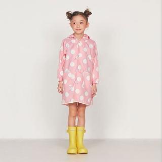 【w.p.c】空氣感兒童雨衣/超輕量防水風衣 附收納袋(粉紅月M)