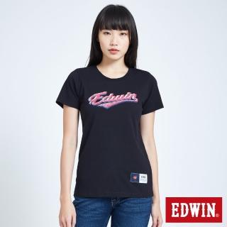 【EDWIN】復古運動 仿繡花復古短袖T恤-女款(黑色)