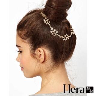 【HERA 赫拉】女神風金葉子後掛式髮箍/髮帶(金屬感  髮箍 髮插 髮帶)