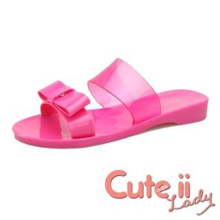 【Cute ii Lady】甜美蝴蝶結室內外兩穿水晶果凍防水拖鞋 雨鞋(桃)