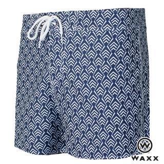 【WAXX】衝浪系列-幾何時尚快乾型男海灘褲-13英吋(藍色)
