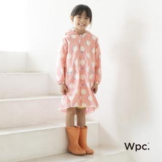 【w.p.c】空氣感兒童雨衣/超輕量防水風衣 附收納袋(粉紅月L)