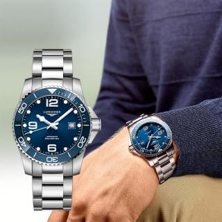 【LONGINES 浪琴】深海征服者浪鬼陶瓷潛水機械錶-藍x銀/41mm(L37814966)