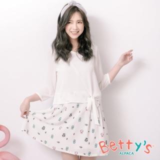 【betty's 貝蒂思】貓頭鷹印花拼接七分袖洋裝(白色)