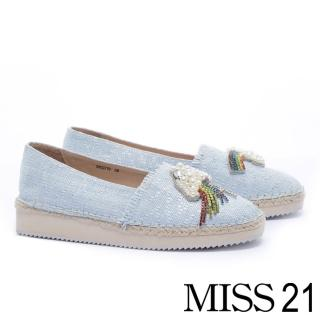 【MISS 21】創意爆棚不對稱裝飾草編厚底鞋(藍)