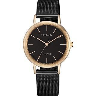 【CITIZEN 星辰】光動能雅致米蘭帶女錶-玫瑰金框x黑/30mm(EM0577-87E)