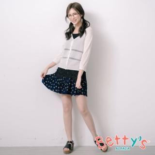 【betty's 貝蒂思】腰間鬆緊印花百褶褲裙(深藍)