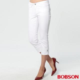 【BOBSON】女款鑽飾七分褲(白162-80)