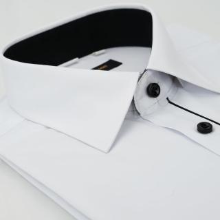 【金安德森】白色門襟黑配色窄版長袖襯衫-fast