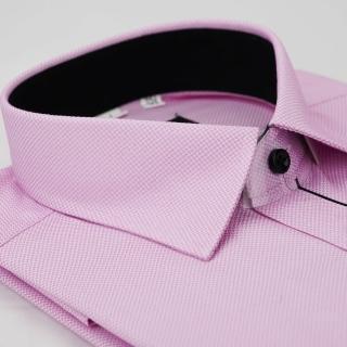 【金安德森】粉紫色細紋門襟黑配色窄版長袖襯衫-fast