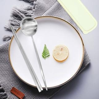 【Homely Zakka】簡約時尚北歐風304不鏽鋼餐具組-筷子+湯匙(本色銀)